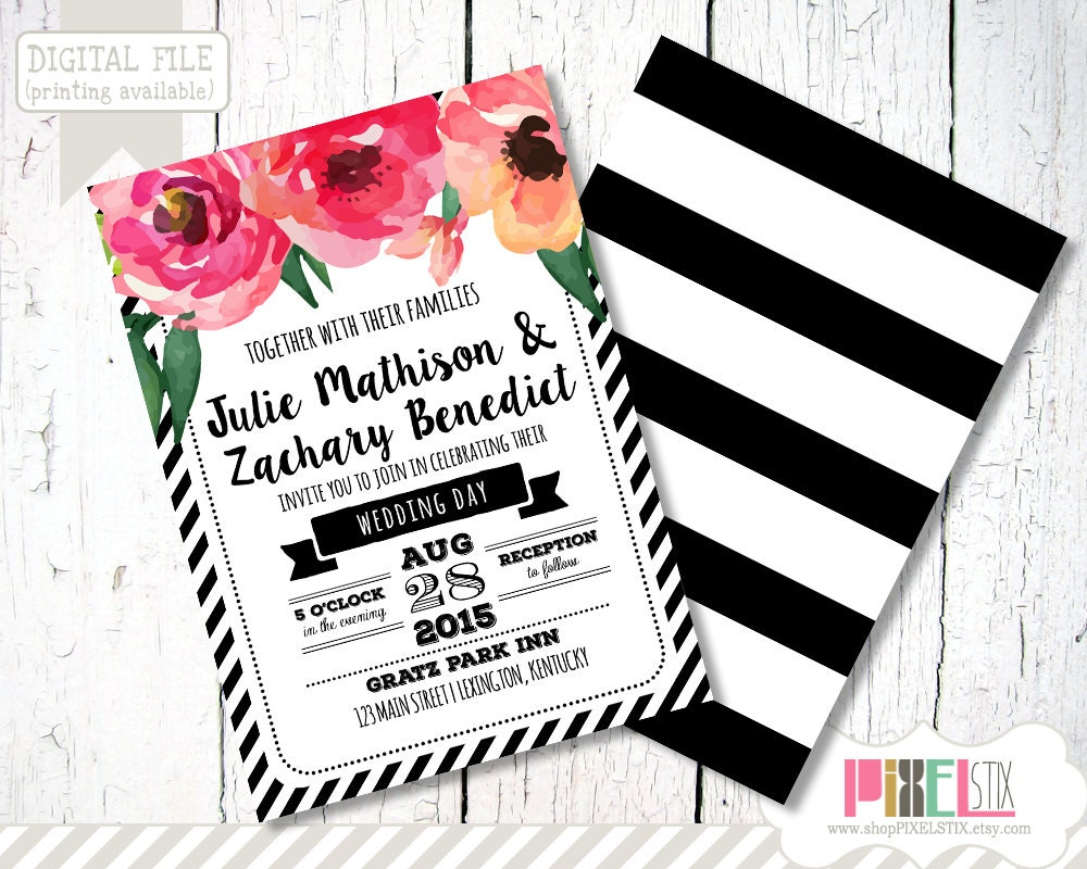 Trendy Wedding Invitation Design CUSTOMIZABLE AND PRINTABLE