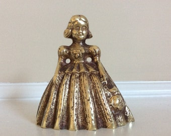Ornate Victorian Dress Lady Figurine Brass Bell.