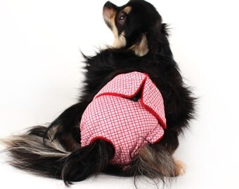 Leak Proof Diaper for female dogs size  Pink and Red plaid print Dog diaper for girl dogs and puppies