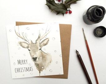 Highland Stag Christmas Card -Scottish Christmas Card- Deer Christmas Greetings Card