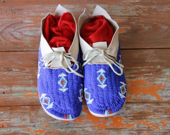 Vintage Beaded Moccasins, 1980's Trading Post