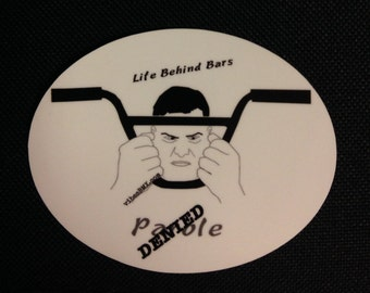 Life behind bars BMX sticker  Oval drawing
