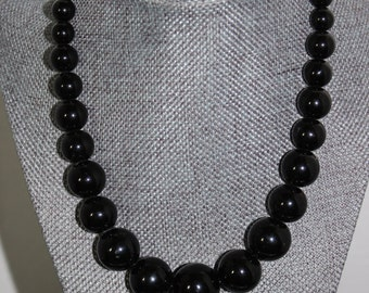 Black Beaded Vintage Necklace