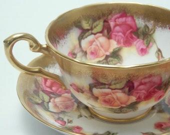 "Royal Chelsea ""Golden Rose"" Pink Orange Roses Vintage Fine Bone China Tea Cup and Saucer Made in England"