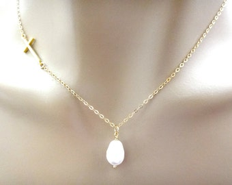 Sideways, Cross, Gold filled, Sterling silver, Chain, Pearl, Necklace, Cross, Jewelry, Modern, Minimal, Jewelry, Birthday, Bridesmaid, Gift