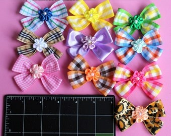 Wholesale pack of 30 Dog Collar Bows 3 inch size - Variety colors-comes with elastic band for easy attaching to the dog collar