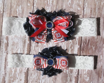 Coast Guard Garter Set | Military Wedding Garters | Red, White, and Blue Wedding Garter | Bridal Garter and Toss Garter