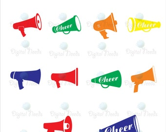 20 Megaphone Silhouettes / 10 in Black and 10 in colors Digital Clip Art for Scrapbooking Card Making Cupcake Toppers Paper Crafts