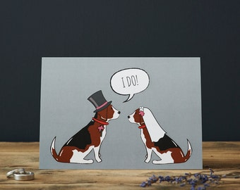 Beagle wedding or engagement  card