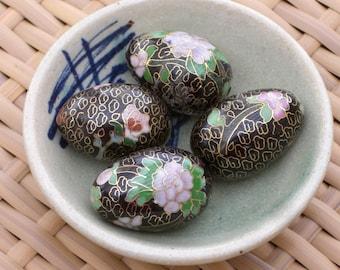 Eggs - Cloisonne - Mini - Black - Group of 3 - Vintage