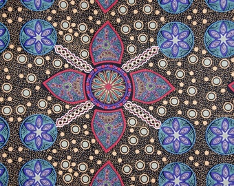 "Stella Black Aboriginal Fabric 112cm wide x 25cm (44"" x 10"" approx)"