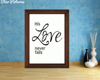 Bible scripture, God's love. Wall art decor. Printable art. His love never fails. Psalm 136.