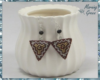 Red, Gold, and Silver Peyote Triangle Earrings, Red, Gold, and Silver Seed Bead Earrings(186)