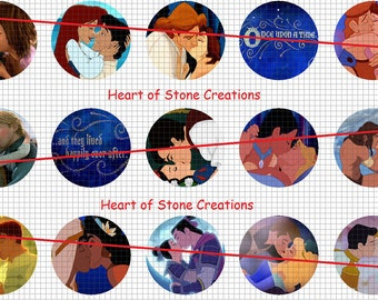 Once Upon a Kiss Bottle Cap Image Sheet