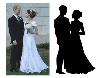 Custom Silhouette (from your photo) - Digital File - print yourself - Bride and Groom (full body) Portrait - Wedding Keepsake