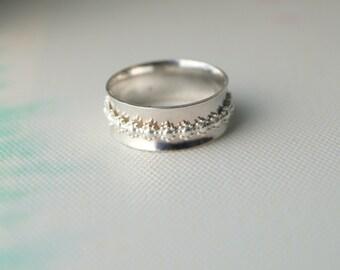 Sterling Silver Spinner Ring - Handmade Daisy Flower Spinning Ring - Daisy Ring - Custom Made - Hippy Wedding Band - By Mint & Vintage