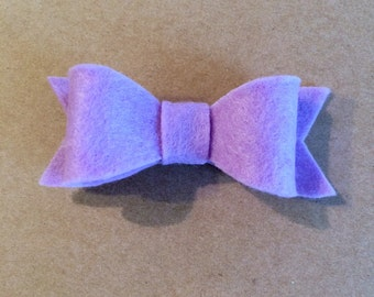 Lavender Felt Bow, Pink Bow, Small Lavender  Bow, Small Lavender Felt Bow, Lavender Felt Hair Bow Clip