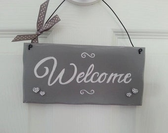 Welcome wood hanging sign plaque handpainted handmade