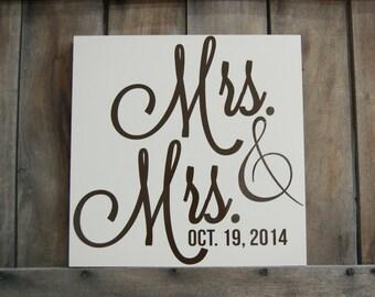 Mrs. & Mrs. Hanging Decor/ Lesbian wedding gift.
