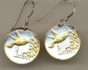 Trinidad & Tobago 1 Cent Hummingbird Coin Earrings - 1 Year Gift or Mother's Day Gift for Her