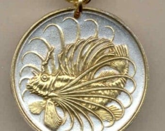 Unique Singapore 50 year anniversary gift - Silver & Gold Singapore 50 cent Lion Fish Necklace