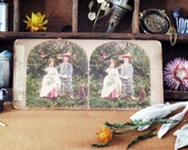 Lost Children Hoax Antique Photograph, Victorian, Macabre, Weird, Stereocard, Spooky, Lunatiques