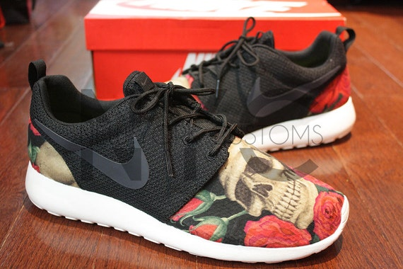 akppd Nike Roshe Run Black Anthracite Skulls and Roses by NYCustoms