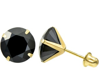14K Gold Round cut Black CZ Stamping set Screw back Stud Earrings - 2 mm to 7 mm