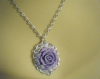Purple Rose Pendant, Purple Necklace, Rose Necklace