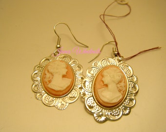 Cameo Earrings - Victorian lady cameo