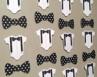 1 Bow Tie, Suspender Onesie Paper Garland Double-Sided Black and White Polka Dot Streamer, Baby Shower, Birthday Party, Baby Nursery