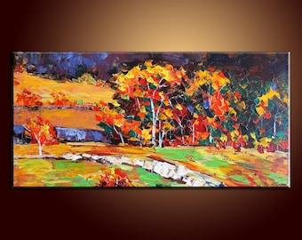 "Autumn Landscape Painting Original Painting Abstract Art Impasto Texture Oil Painting Palette Knife Oil Painting 48"" Large Painting"