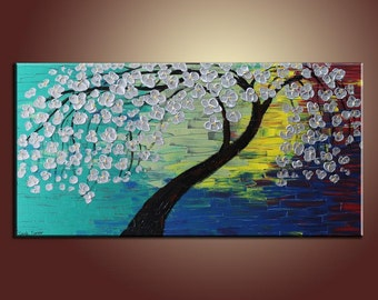Oil Painting Silver Flower Tree Painting Original Painting Large Painting Impasto Texture Oil Painting Palette Knife Oil Painting