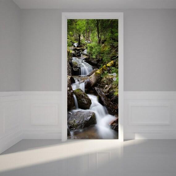 Door wall sticker mountain streams self adhesive peel - Bande adhesive murale ...