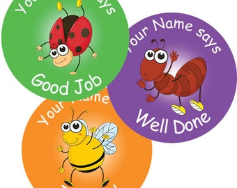 140 Personalised Insect themed Teacher Reward Stickers