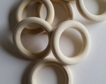 Wood Bead Simple unfinished natural wood organic wood rings 5.6cm jewerly wholesale  50 piece lot