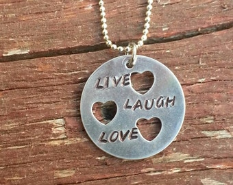 Live Laugh Love with 3 tiny hearts necklace.