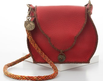 Handcrafted Classic Red Leather Handbag