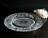 Vintage depression glass plate small oval plate Indiana glass sandwich clear glassware
