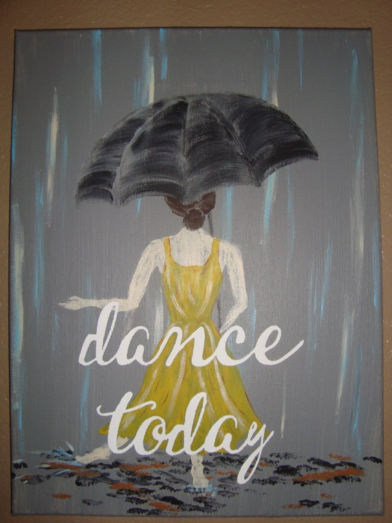 Yellow dress black umbrella painting images