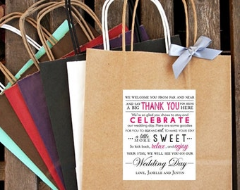 Personalized Welcome, Thank You and Celebrate Wedding Welcome Bag
