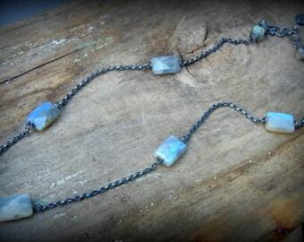 Labradorite Path Necklace, Sterling Labradorite Station Necklace, Faceted Labradorite Rectangular Beaded Minimalist Necklace