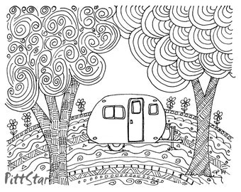 free happy camper coloring pages   Vintage Travel Trailers / Jumbo Glass Magnet Set of by ...