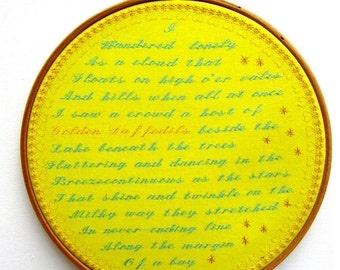 Machine Embroidery Hoop Art Daffodils I Wandered Lonely As A Cloud by William Wordsworth Romantic Poetry Sampler