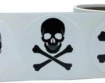 """2"""" Inch Round White Skull Sticker Party Favors"""
