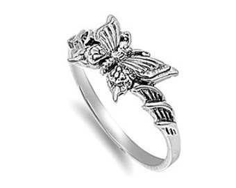Butterfly Ring 9MM Sterling Silver 925