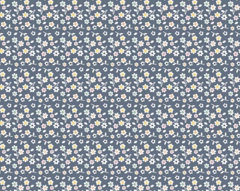 Riley Blake A Beautiful Thing Flowers Navy (Half metre)