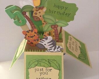 Jungle animal pop up childrens birthday greeting card