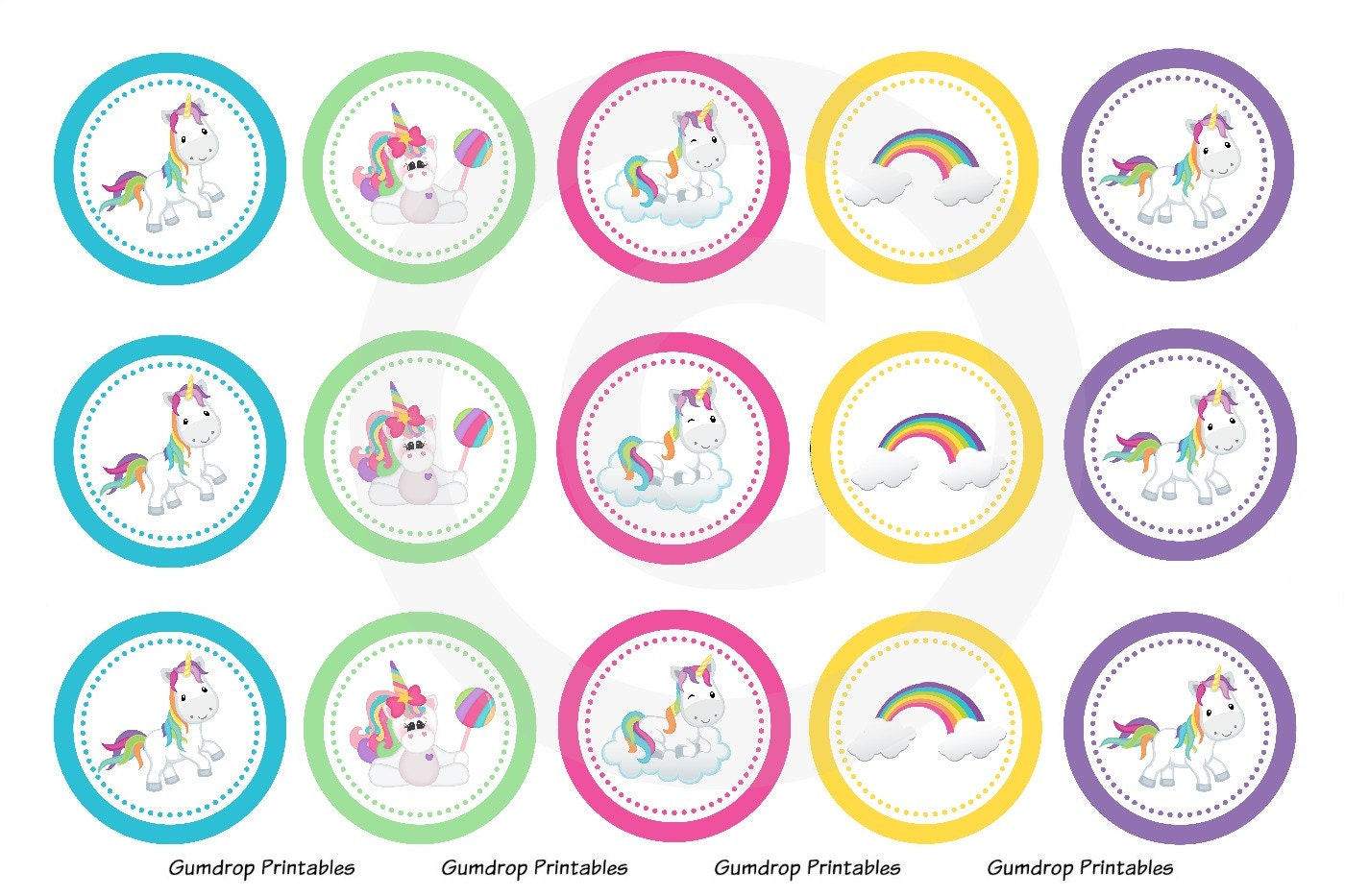 Unicorn rainbow bottle cap images 2 instant download 4x6 1 for Pictures of bottle caps