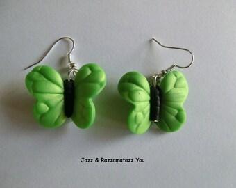 Handcrafted Fimo Pearl Butterfly/Butterflies Earrings - Lime Green